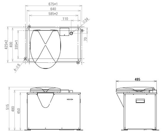 バイオトイレ BT-S型外形図