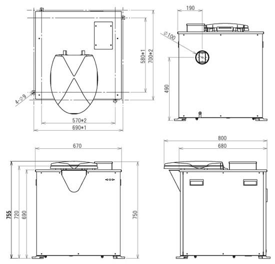 バイオトイレ BT-L型外形図