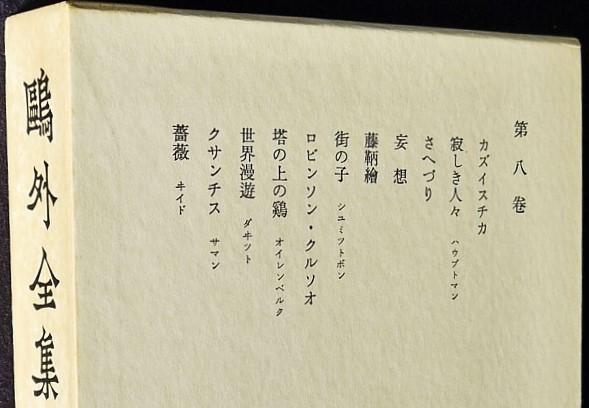 森鴎外著『カズイスチカ』が収録されている、鴎外全集(岩波書店 昭和47年刊)の第8巻です。