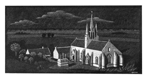 Eglise gravée sur plaque funéraire