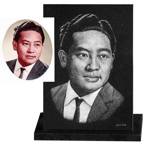 Portrait gravé sur plaque