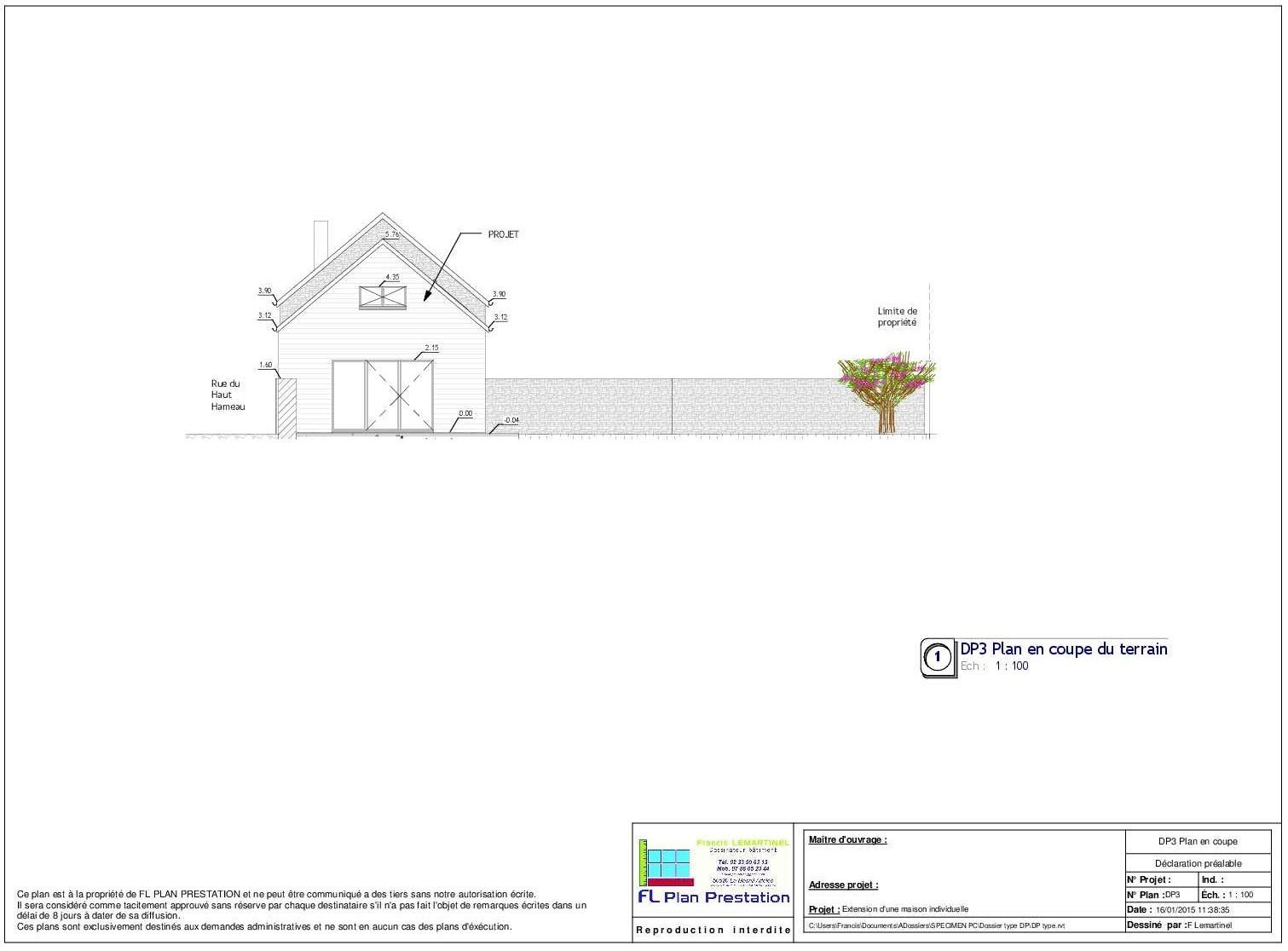 dossier type de permis de construire r alis par fl plan prestation fl plan prestation. Black Bedroom Furniture Sets. Home Design Ideas