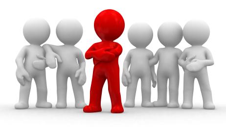 Titelbild der Kategorie Fit for Leadership Führungskräftetraining, 5 weiße Männchen, ein rotes vorn