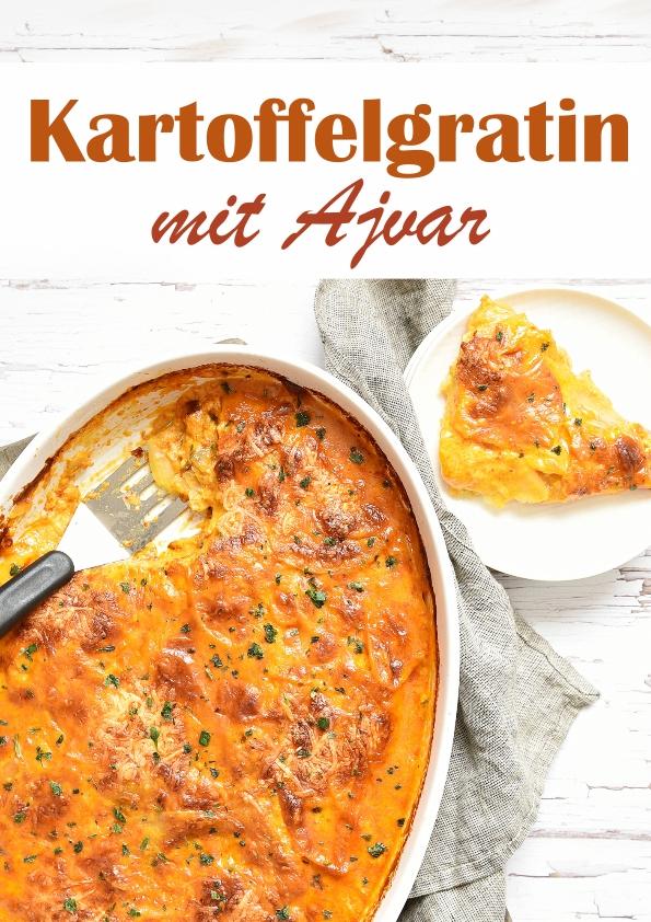 Kartoffelgratin mit Ajvar, einfaches Rezept, wichtig ist, dass die Kartoffeln nicht zu dick geschnitten werden (ca. 2 mm) und das Gratin lang genug im Ofen ist (70 min), Soße aus dem Thermomix, vegan möglich, vegetarisch, Mittagessen, Familienküche