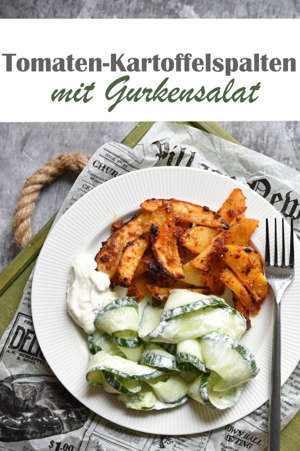 Kartoffelspalten, die mit getrockneten Tomaten und Öl mariniert gebacken werden, dazu ein klassischer Gurkensalat, vegetarisch, vegan möglich, sommerliches Mittagessen, Thermomix