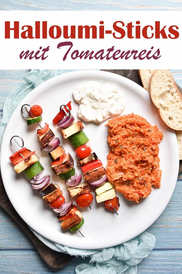 Gemüse Halloumi Sticks mit Tomatenreis aus dem Thermomix, Sticks wahlweise auf dem Grill oder in der Pfanne, aufgespießt mit Gemüse nach persönlichen Vorlieben, vegetarisch