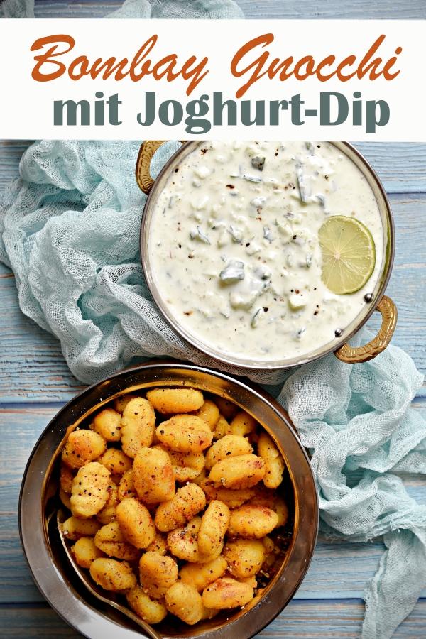 Statt Bombay Kartoffeln - indischen Bratkartoffeln, habe ich hier Bombay Gnocchi für euch, das sind gebratene Gnocchi indisch gewürzt, mit Joghurt-Dip, vegetarisch, vegan, Thermomix