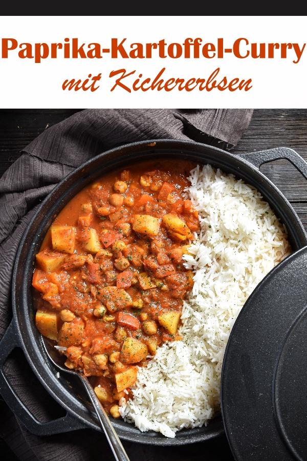 Paprika Kartoffel Curry mit Kichererbsen, schnell und einfach gemacht, vegetarisch, vegan, Thermomix, Mittagessen