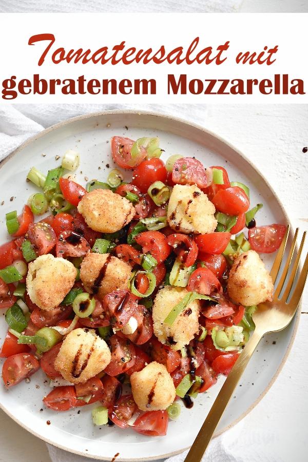 Tomatensalat mit Frühlingszwiebeln und gebratenen Mini Mozzarella, Tomate Mozzarella mal anders, vegetarisch, Sommerrezept