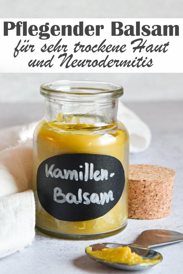 Pflegender Balsam für sehr trockene Haut und Neurodermitis aus Mandelöl und Kamillenblüten sowie Beerenwachs, DIY Creme, Thermomix
