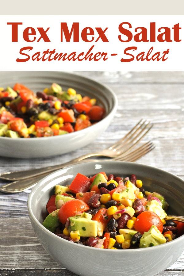 Sattmacher Salat mit Bohnen, Tomaten, Mais, Tomaten, Avocado und leckerem Dressing, vegan, vegetarisch, Thermomix, auch als Partysalat zum Grillen geeignet