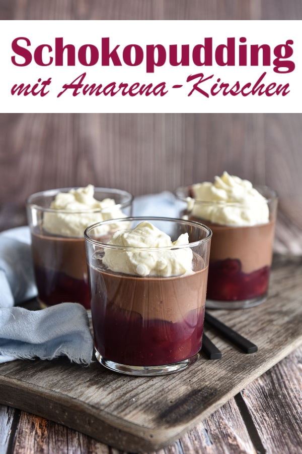 Schokopudding mit Amarena-Kirschen, leckerer Nachtisch, Dessert, vegan möglich, alkoholfrei möglich, Thermomix