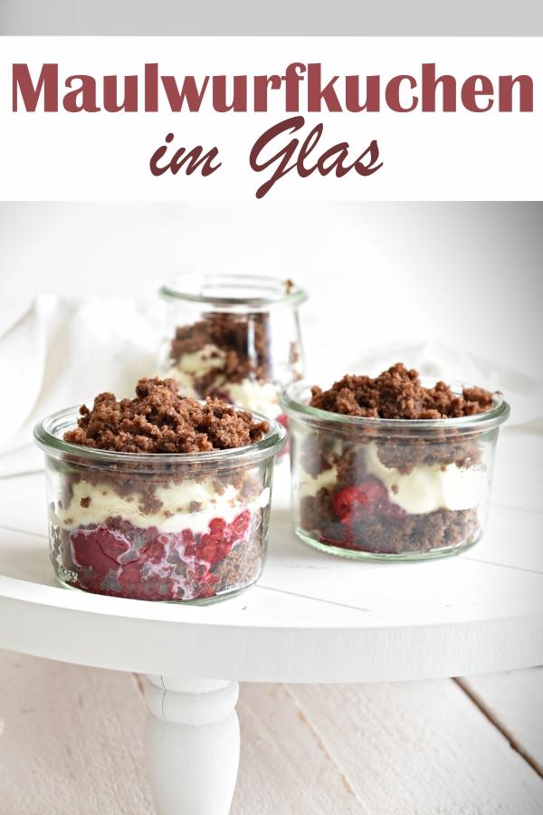 Maulwurfkuchen aus dem Glas, mit zerkrümeltem Schokokuchen, Sahne und Früchten, z.B. Himbeeren, vegan möglich, Dessert, Thermomix