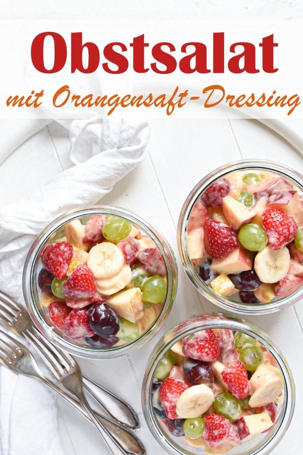 Obstsalat mit Erbeeren, Trauben, Bananen, Apfel, Birne in Orangen-Joghurt-Dressing, vegan möglich, Dressing aus dem Thermomix