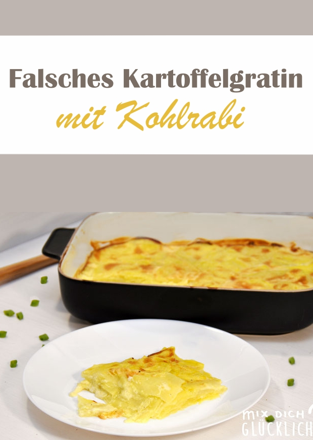 falsches Kartoffelgratin, low carb, mit Kohlrabi