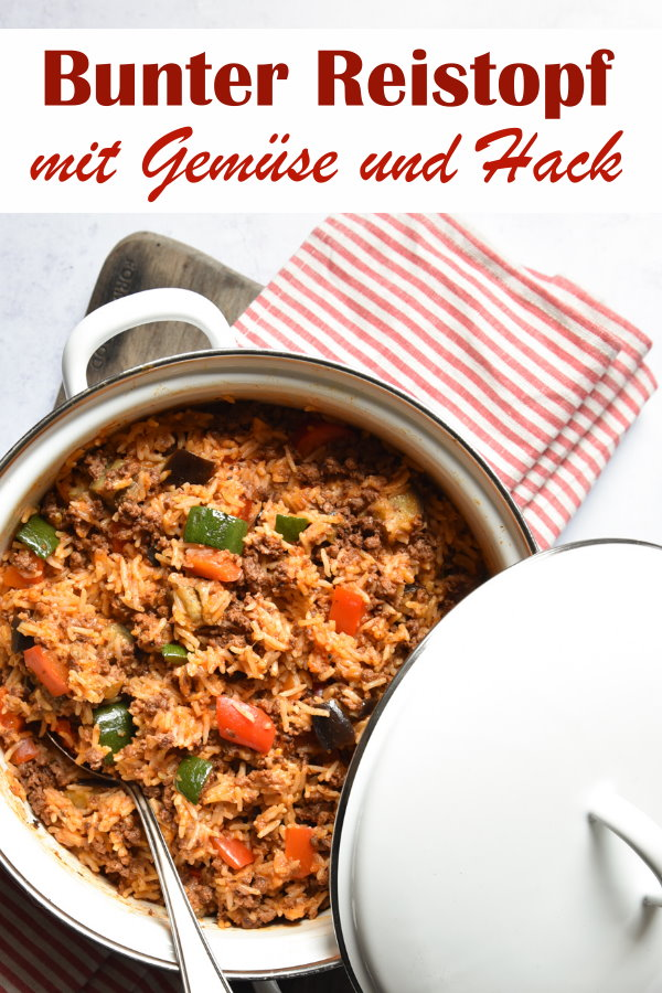 Bunter Reistopf mit Gemüse und Veggie-Hackersatz oder echtem Hackfleisch, Paprika, Zucchini, Aubergine, vegan, vegetarisch, Thermomix, Familienküche, Mittagessen, einfach