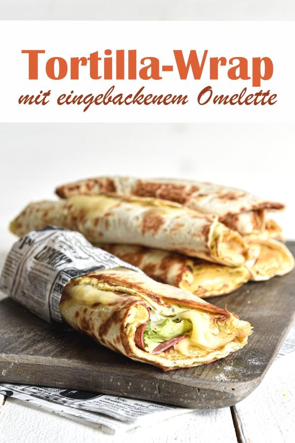 Tortilla Wrap mit eingebackenem Omelette, einfach und schnell zu machen und richtig lecker, weil es durch das Omelette so schön saftig ist, vegetarisch