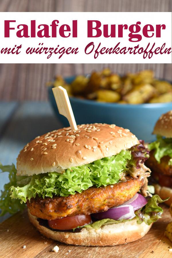 Falafel Burger mit würzigen Ofenkartoffeln, Burger vegan bzw. vegetarisch, Thermomix