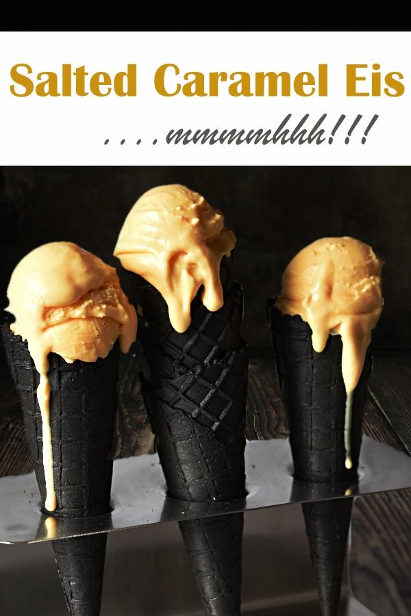Salted Caramel Eis selbst gemacht, Eismasse im Thermomix gemacht mit selbst gemachtem Karamell