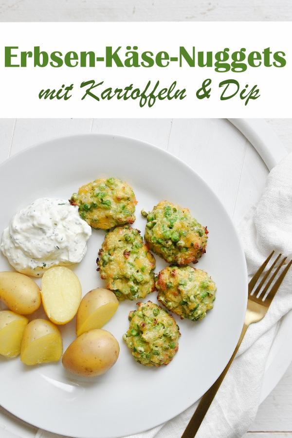 Erbsen Käse Nuggets mit Kartoffeln und Dip, aus dem Thermomix, vegetarisches Mittagessen, Familienküche
