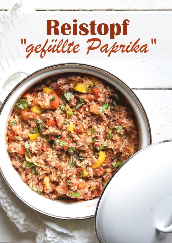 """Reistopf """"gefüllte Paprika"""" - mit Paprika, Tomaten und Hack bzw. Hackersatz, vegetarisch bzw. vegan machbar, leckeres Mittagessen, Thermomix, Familienküche"""