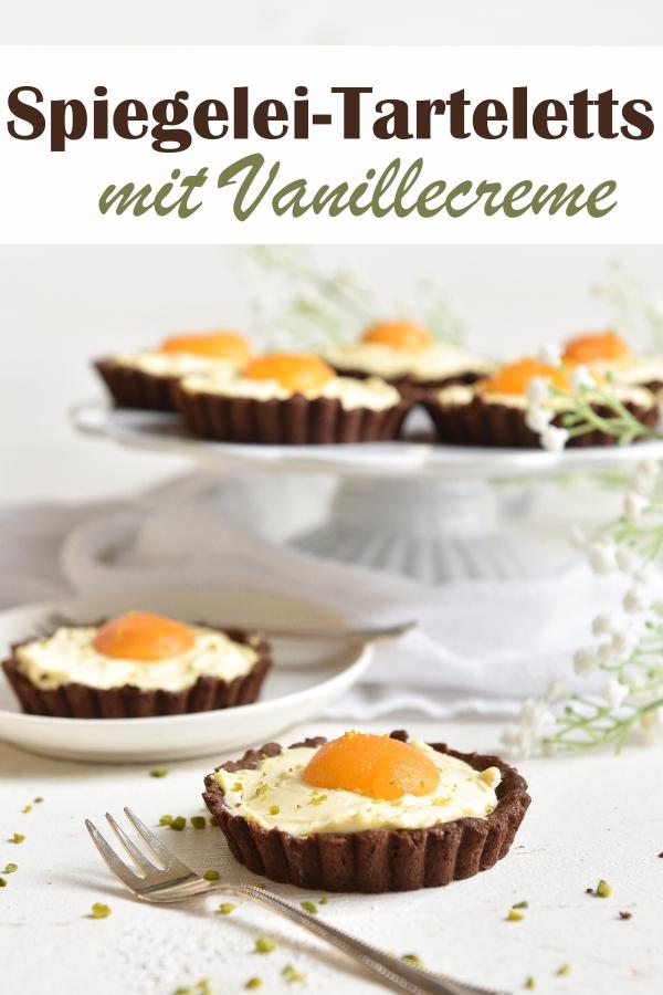 Hübsche Spiegelei Tarteletts mit Schokoboden und Vanillecreme, vegan möglich, Thermomix, Kuchen zu Ostern, Osterbrunch, Kuchenbuffet