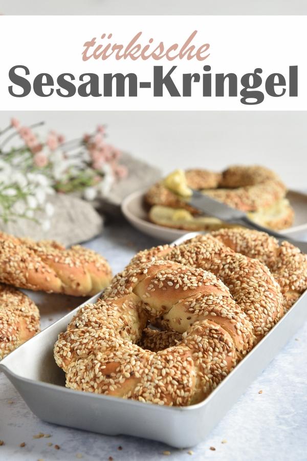 türkische Sesam Kringel, Simit, Sesamringe, leckere Alternative zu Brötchen am Sonntagmorgen, vegan möglich, Teig aus dem Thermomix