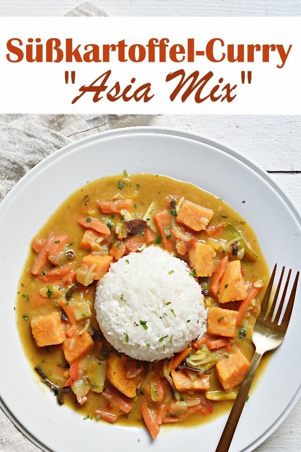 Süßkartoffel Curry mit Asia Gemüse, dazu Reis, Mittagessen, vegetarisch, Familienküche, Thermomix