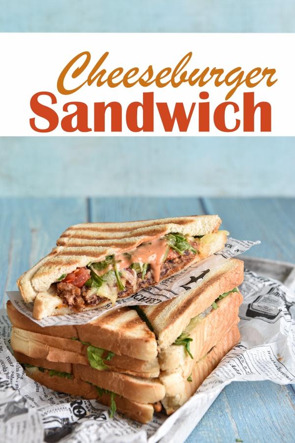 Cheeseburger Sandwich, vegetarische Version mit selbst gemachten Burger Patty aus Kidneybohnen und Haferflocken, vegan möglich, Thermomix, Tefal Opti Grill, Sandwich Maker