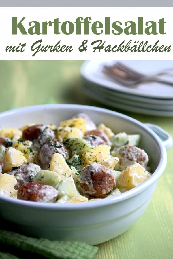 Kartoffelsalat mit Gurken und (Veggie-) Hackbällchen, vegetarisch, vegan möglich, Partysalat, Grillbeilage, Salat für Schulfest oder Sommerfest, Thermomix