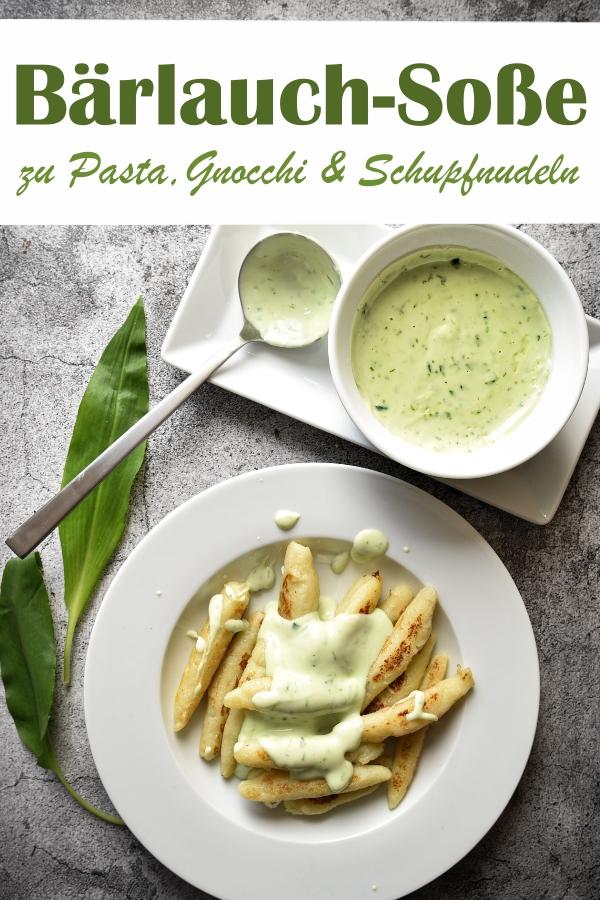 Bärlauchsoße ruck zuck aus Bärlauchpaste gekocht innerhalb von 10 Minuten, passt zu Nudeln, Gnocchi, Schupfnudeln, Kartoffeln etc., vegetarisch, vegan, Thermomix