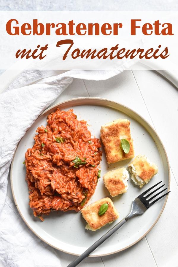 Gebratener Feta Käse (paniert) mit Tomatenreis (Reis gekocht in stückigen Tomaten und passierten Tomaten), vegetarisch, Sommerrezept, Thermomix, Familienküche