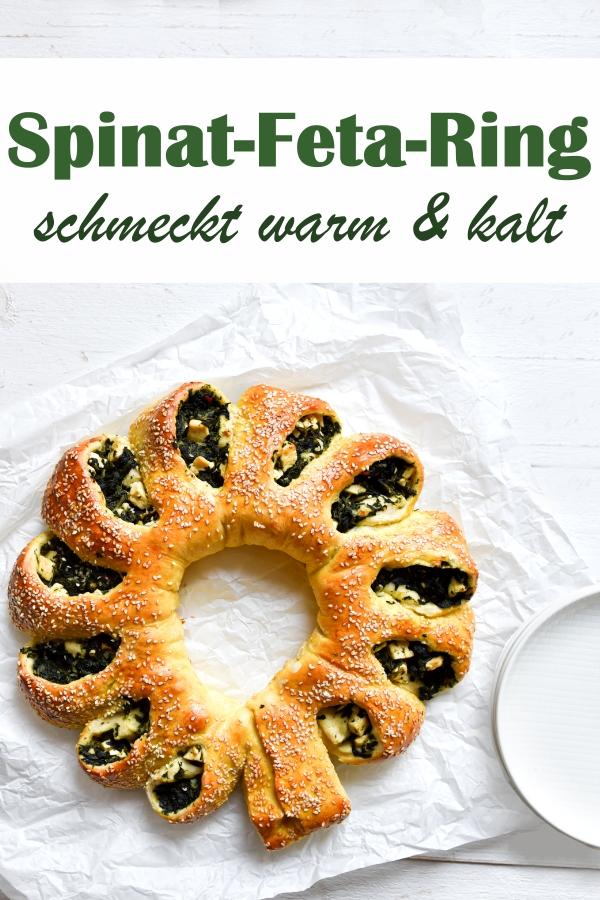 Spinat Feta Ring, schmeckt wie Börek, aber mit einem fluffigen Teig - schmeckt warm und kalt, als Vorspeise, auf dem kalten Buffet, als Snack, als Hauptgericht o.ä., vegetarisch, vegan machbar, Thermomix