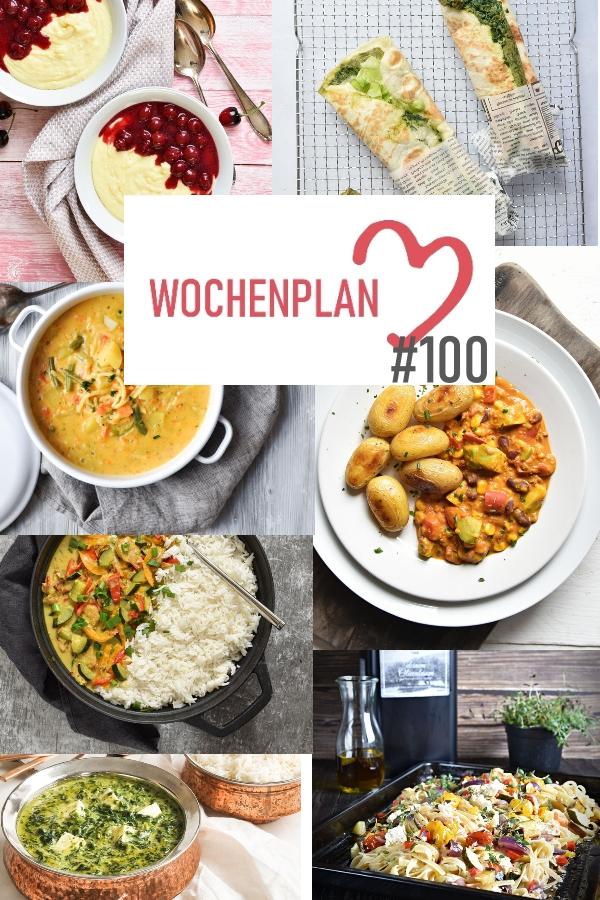 Was soll es die Woche bloß zu essen geben? Ich habe dir hier eine ganze Woche an leckeren Rezepten zusammengestellt - du kannst sie alle vegan oder vegetarisch kochen - der mix dich glücklich Wochenplan für den Thermomix - Nummer 100