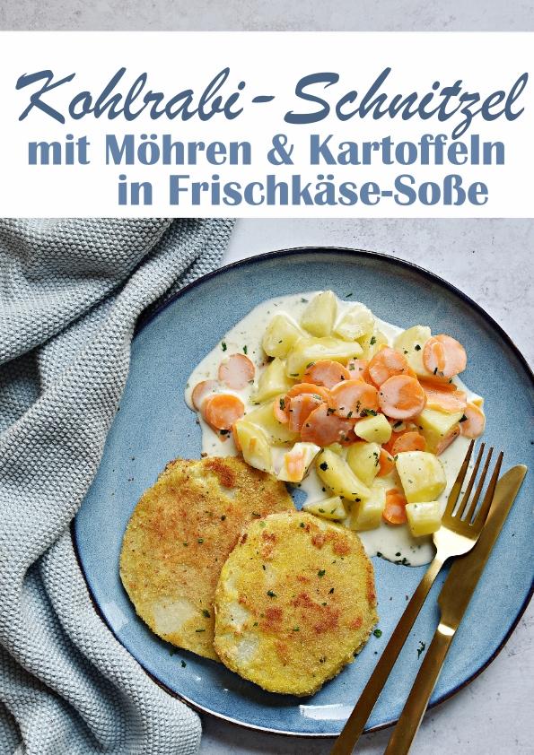 Kohlrabi Schnitzel mit Möhren und Kartoffeln in Frischkäse Soße, Thermomix, Familienküche, Mittagessen, vegetarisch, vegan machbar