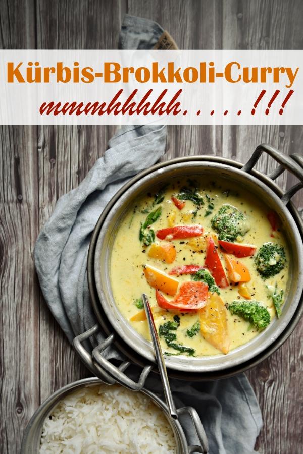 Kürbis Brokkoli Curry mit Paprikaschoten und Spinat, dazu Reis, scharf nach persönlichem Wunsch, dann einfach mit Chilipulver abschmecken, schmeckt Kindern, Familienküche, MIttagessen, vegetarisch oder vegan möglich, Thermomix