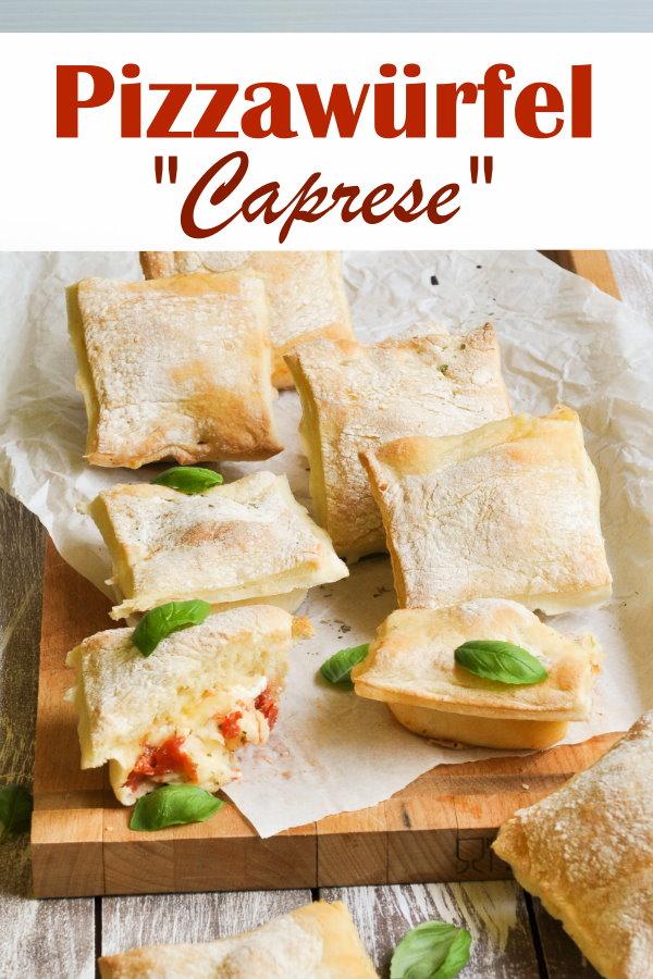 """Wunderbarer Snack oder für Ausflüge, Schulfeste, Partys, Buffet, Fingerfood etc. sind diese gefüllten Pizzawürfel """"Caprese"""", vegetarisch, Thermomix"""