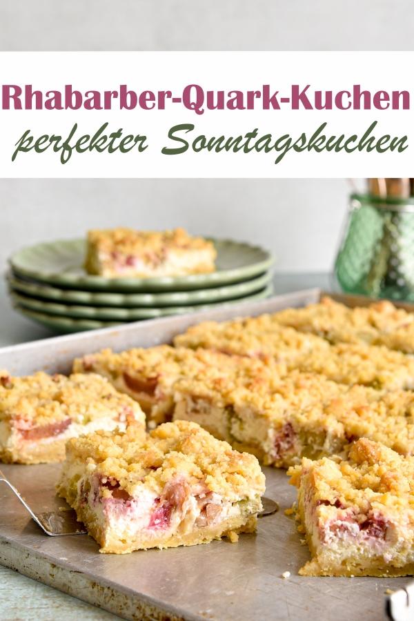 Rhabarber Quark Streuselkuchen, perfekter Sonntagskuchen, vegan möglich, z.B. aus dem Thermomix, oder auch auf dem Kuchenbuffet zu Ostern, zum Geburtstag, Sommerfest, Schulfest, etc.