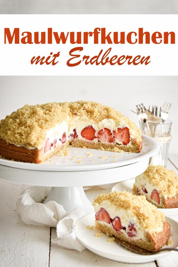Heller Maulwurfkuchen mit Erdbeeren und Sahnefüllung, einfach zu machen, vegan möglich, Thermomix, sommerlicher Kuchen, Geburtstagskuchen, Sommerkuchen