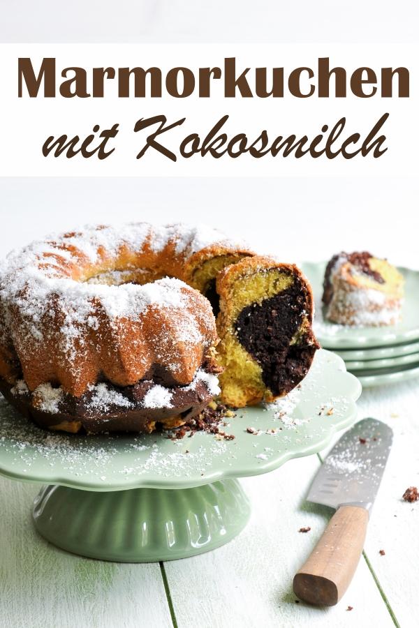 Marmorkuchen mal anders, mit Kokosmilch und ggf. Kokosraspeln, 2 Versionen: mit Eiern oder vegane Version ohne Eier, Thermomix, Sonntagskuchen