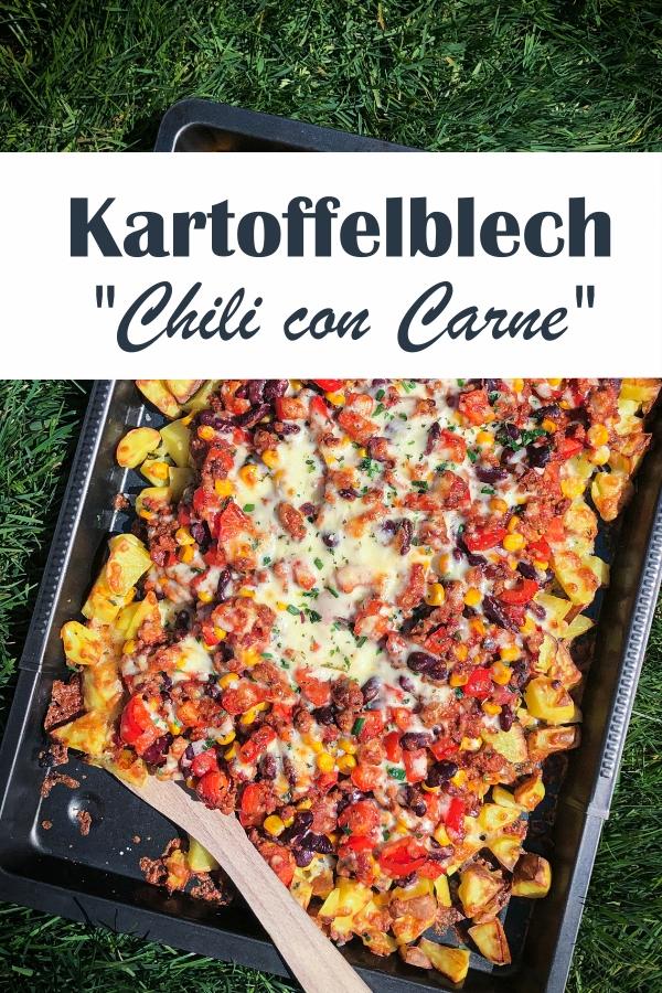 Kartoffelblech mit Chili con Carne bzw. sin Carne Topping - Ofenkartoffeln mit Hack-Tomaten-Topping mit Mais und Kidneybohnen, mit Käse überbacken, vegetarisch und vegan möglich, Thermomix