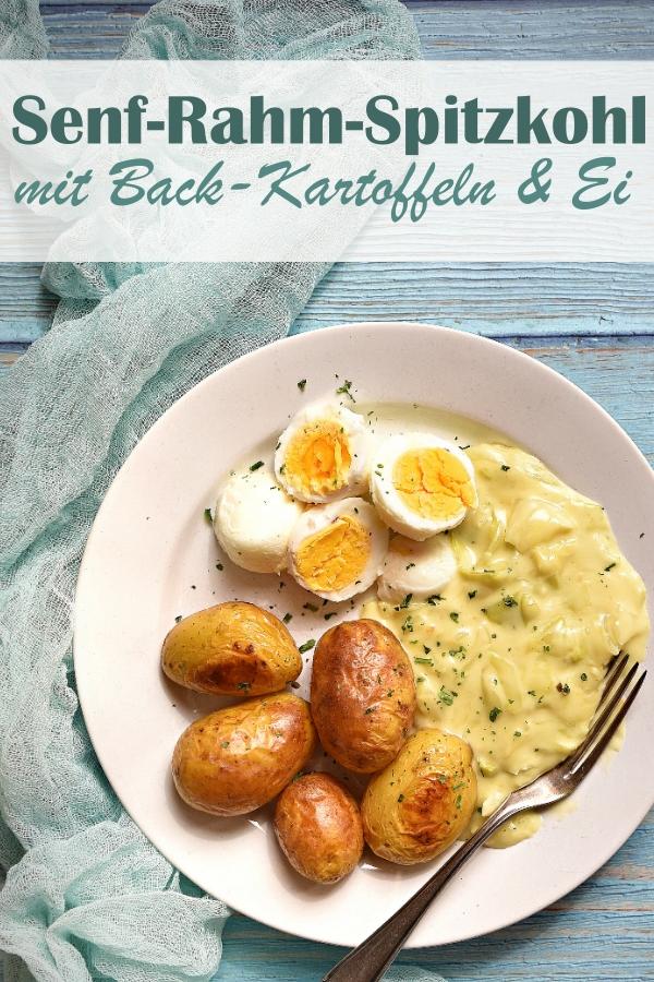 Senf Rahm Spitzkohl mit Backkartoffeln und Ei, vegetarisches Mittagessen, Familienküche, Thermomix