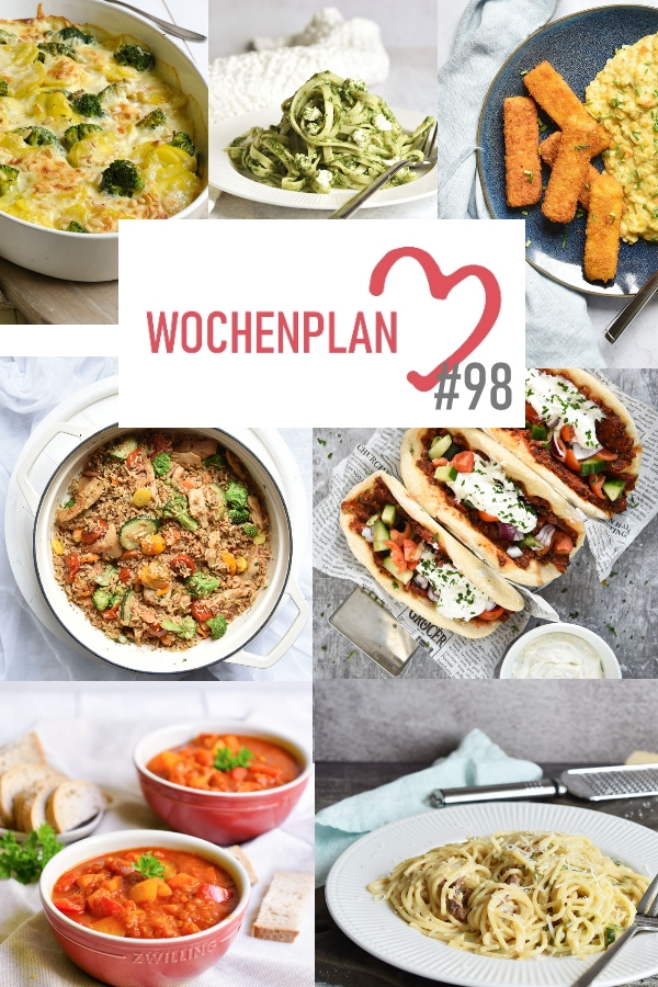 Was soll es die Woche bloß zu essen geben? Ich habe dir hier eine ganze Woche an leckeren Rezepten zusammengestellt - du kannst sie alle vegan oder vegetarisch kochen - der mix dich glücklich Wochenplan für den Thermomix - Nummer 98