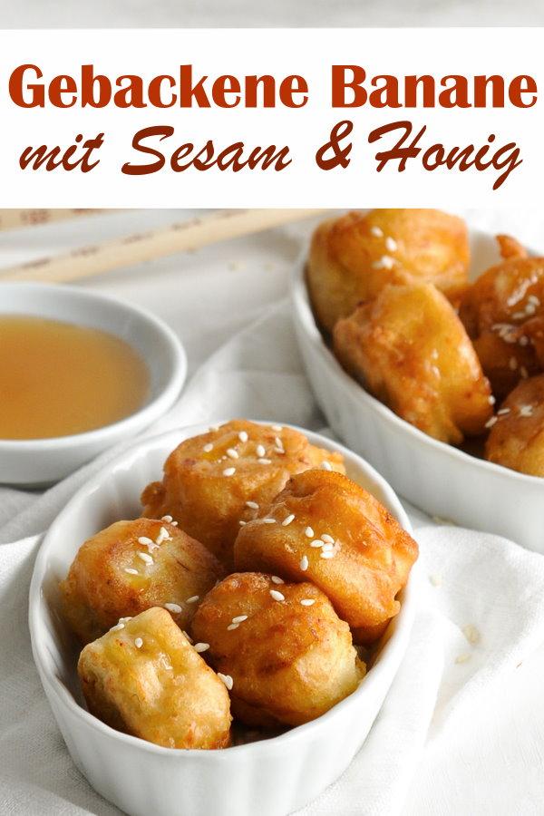 Gebackene Banane mit Honig oder Ahornsirup sowie Sesam, Ausbackteig im Thermomix gemacht, chinesisches Dessert, Familienküche
