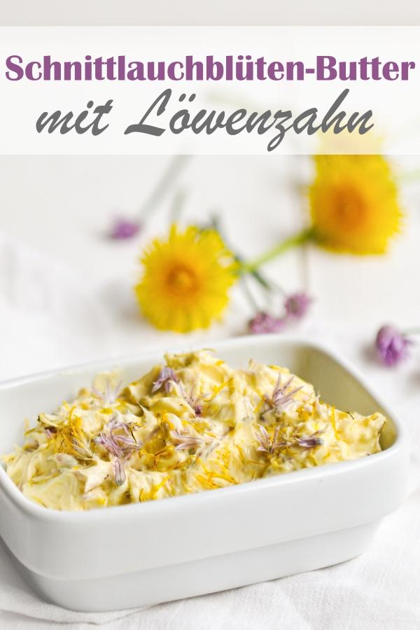 Schnittlauchblüten und Löwenzahnblüten Butter selbst gemacht, lecker würzig, schmeckt leicht nach Schnittlauch, sieht toll aus auf dem Frühstückstisch, vegan möglich, z.B. Thermomix