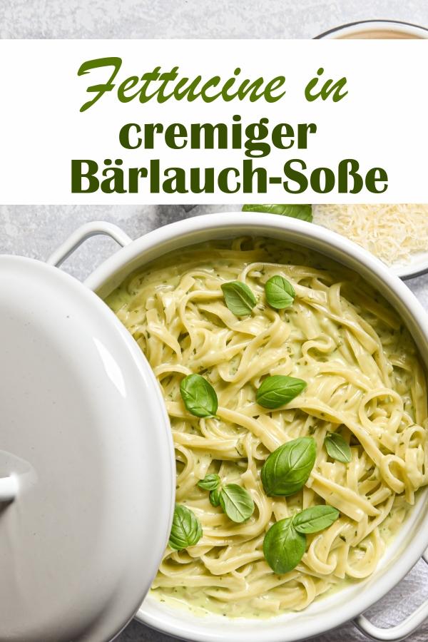Fettucine in cremiger Bärlauch Soße mit Basilikum, die Nudeln (wahlweise gehen auch Linguine, notfalls Spaghetti) werden in der Bärlauch-Soße gar gekocht,All in One Rezept, Thermomix, vegetarisch, vegan machbar