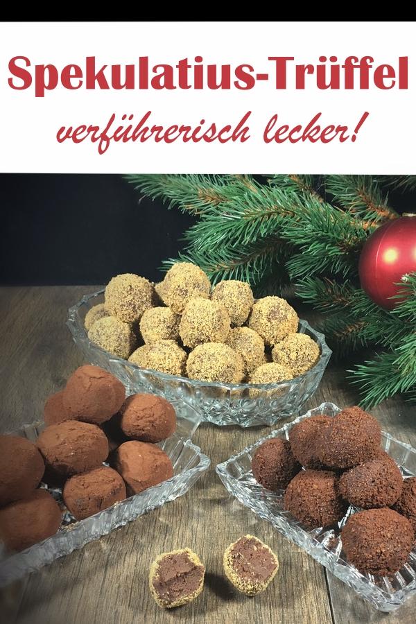 leckere Trüffel-Pralinen mit Spekulatius, weihnachtliche Pralinen, statt Kekse, Geschenke aus der Küche, Weihnachten, vegan machbar, Thermomix