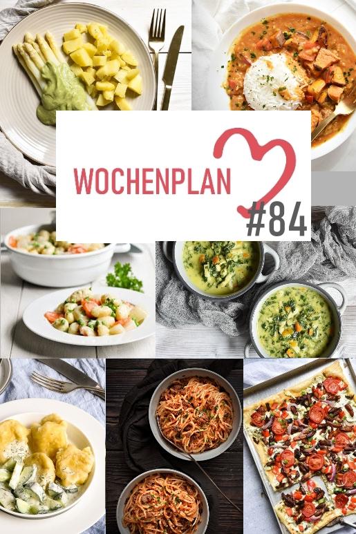 Was soll es die Woche bloß zu essen geben? Ich habe dir hier eine ganze Woche an leckeren Rezepten zusammengestellt - du kannst sie alle vegan oder vegetarisch kochen - der mix dich glücklich Wochenplan für den Thermomix - Nummer 84