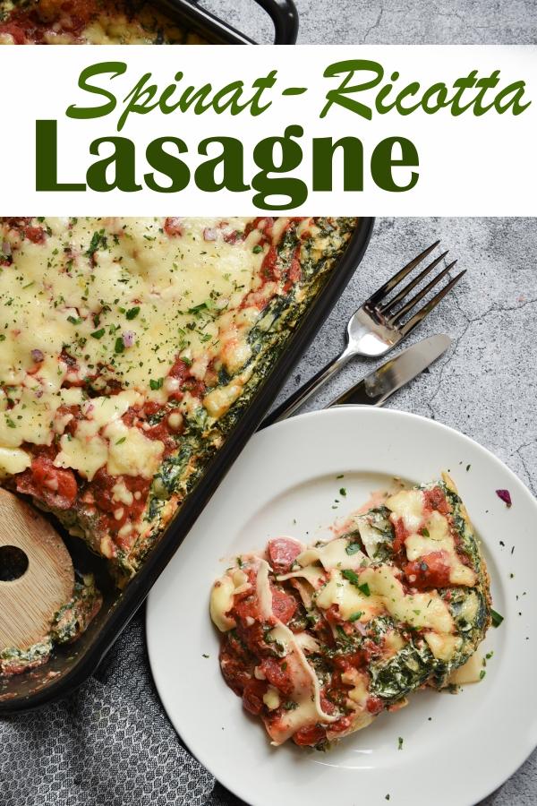 Spinat Ricotta Lasagne, vegan möglich mit Ricotta Ersatz aus Cashewkernen und Tofu, oder regulär in vegetarisch, mit Tomatensoße zwischen den Schichten, saftig, lecker, Thermomix