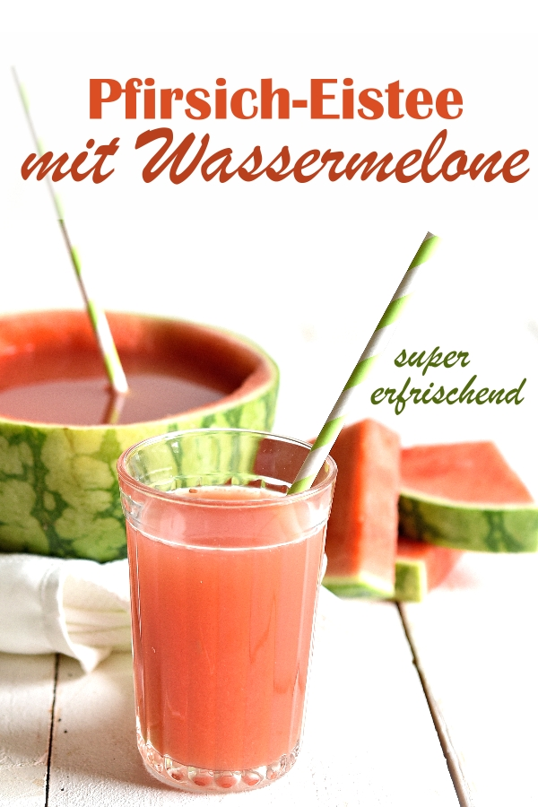 Pfirsich Eistee mit Wassermelone, super erfrischend, Sommergetränk für Kinder, z.B. im Thermomix gemacht